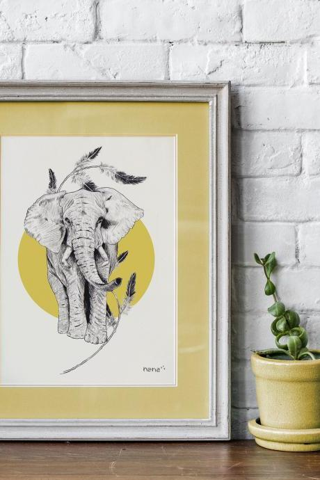 Lamina elefante a5 descargable | Downloadable a5 elephant print